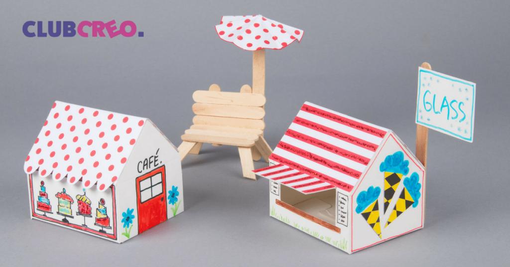 pyssla tillsammans rita måla hus av kartong