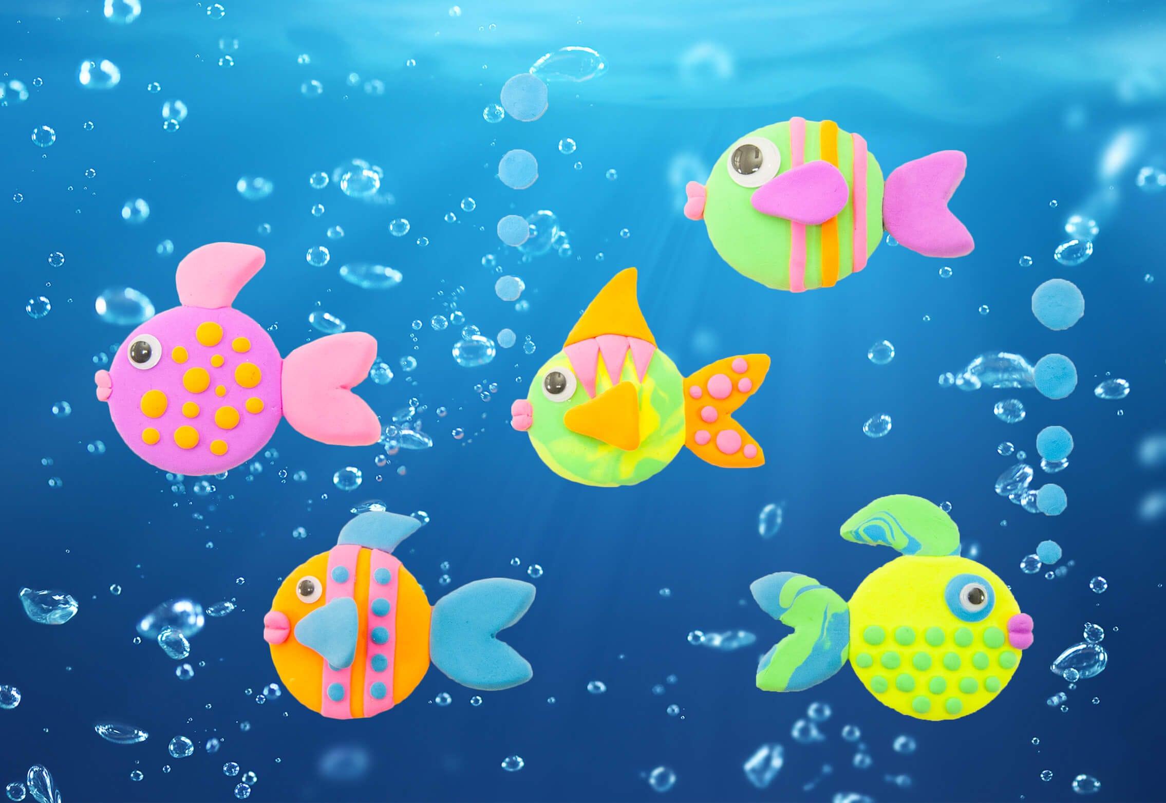 Gör en tavla av fina färgglada fiskar