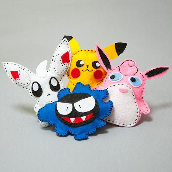 Sy figurer av filt – Pokemon