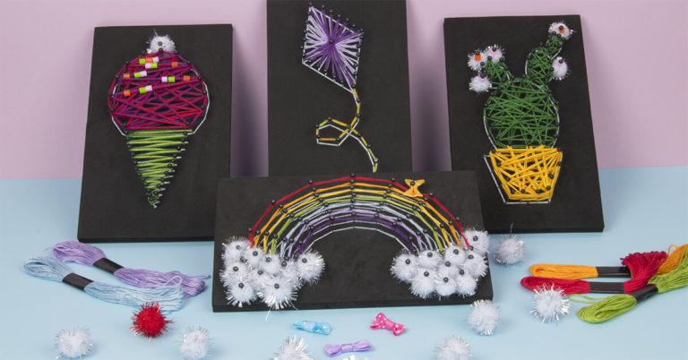 Skapa fina konstverk av färgade snören