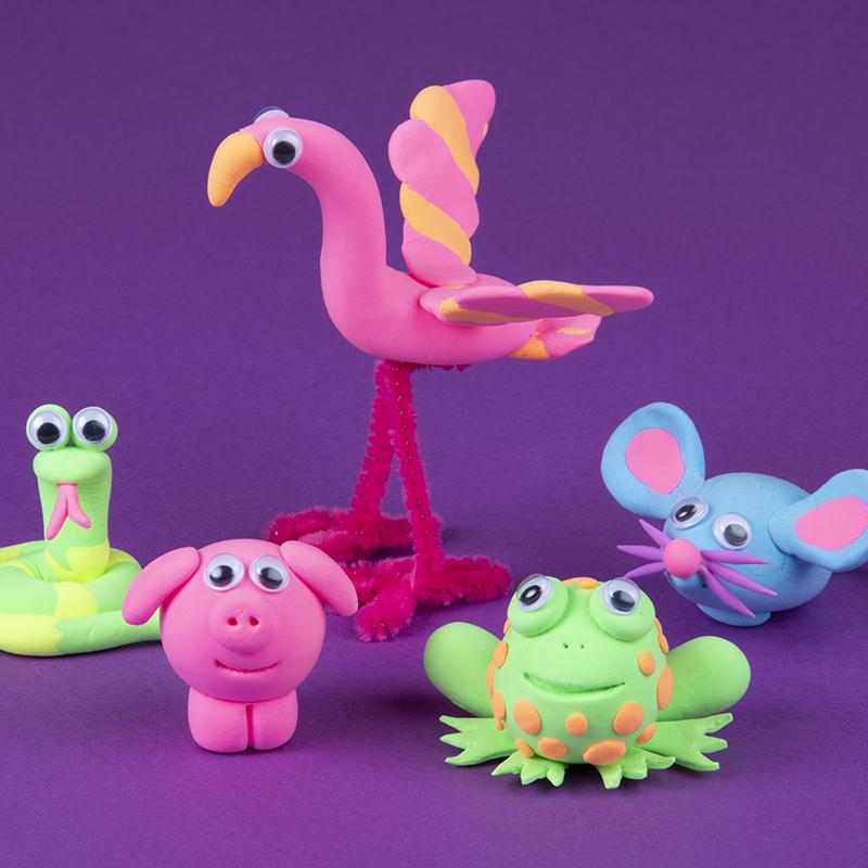 Kreative aktiviteter med sjove dyr af ler!