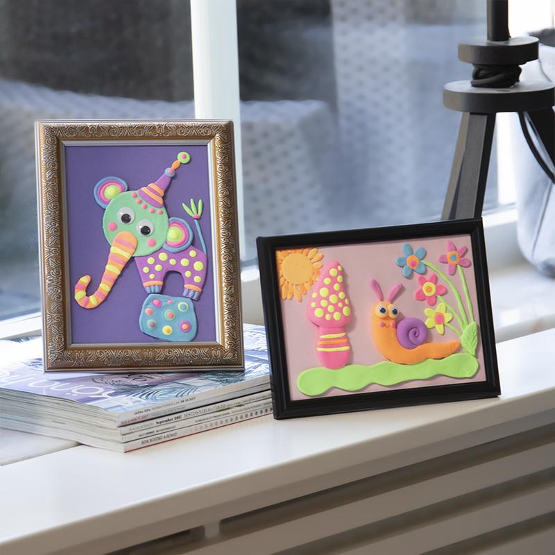 Lustige Basteltipps für Kinder! Erschaffe ein schönes Bild mit Motiven aus Silk Clay