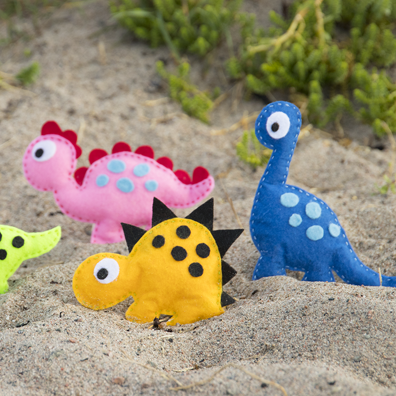 pyssteltips, sy dinosaurier av hobbyfilt