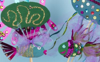 Krebse, Quallen und Fische aus Styropor. Kreatives und lustiges Bastelmaterial für Kinder!