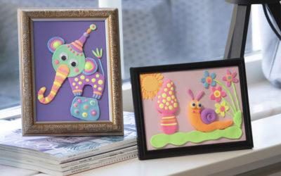 Knutseltip voor kinderen. Een mooi schilderijtje maken met motieven van klei