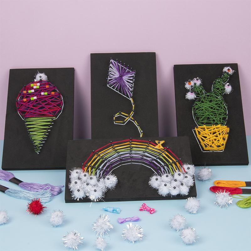 Mooie kunstwerkjes maken van gekleurd borduurgaren