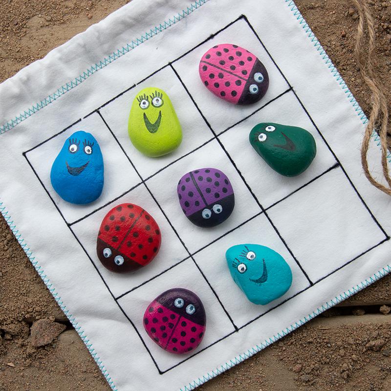 pyssel för barn måla stena luffarschack