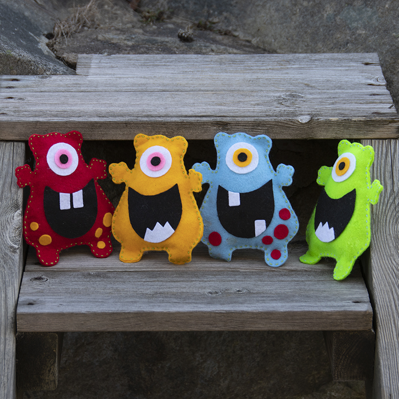 Vrolijke monsters die je kunt naaien van hobbyvilt