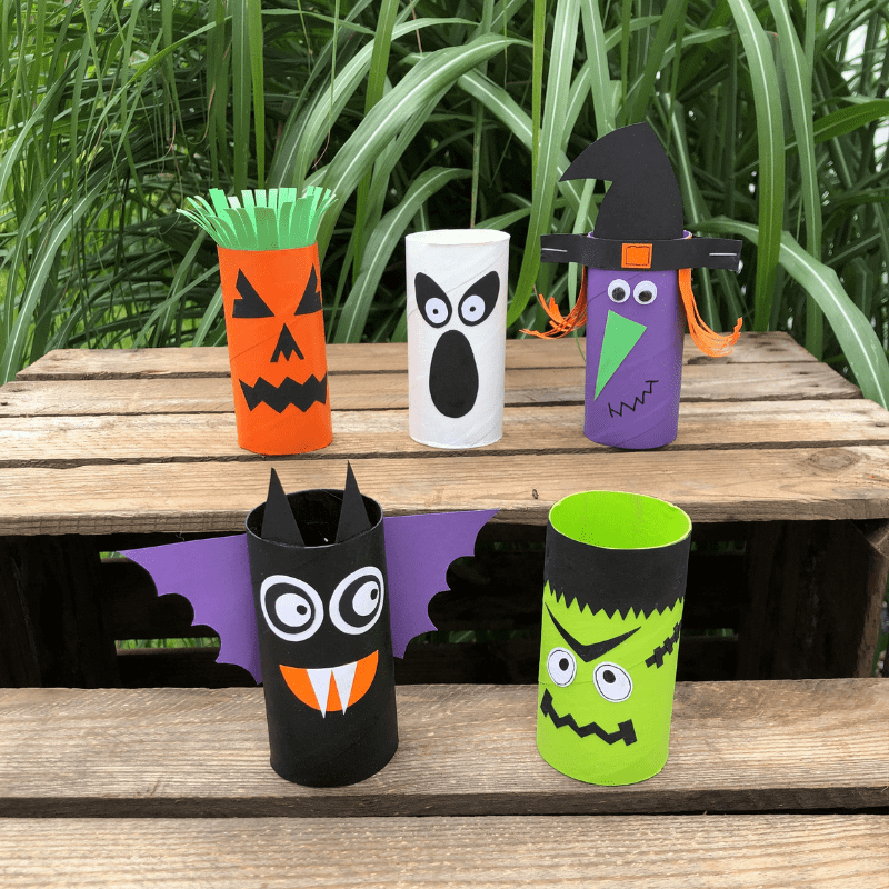 Halloweenpynt for børn pynt med toiletruller