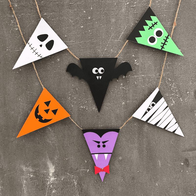 halloween-bastelspaß flaggengirlande aus monstern kürbis gespenst