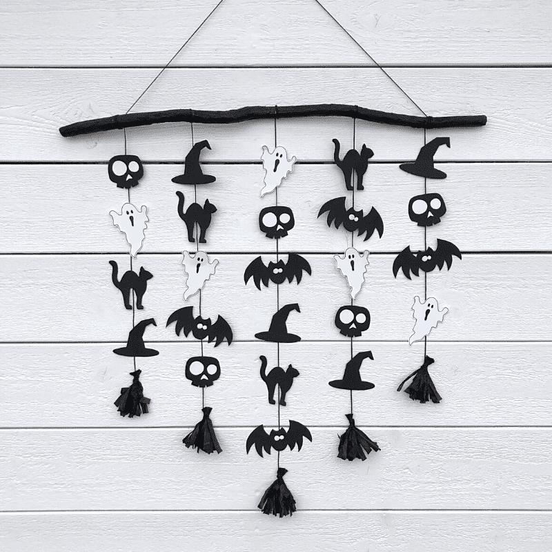 basteln zu halloween girlande mit gespenstern fledermäuse