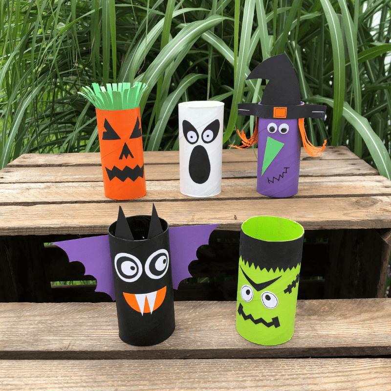 Halloweenpyssel för barn pyssel med toarullar