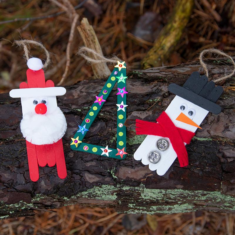 knutselen voor Kerstmis voor kinderen knutselen met ijsstokjes