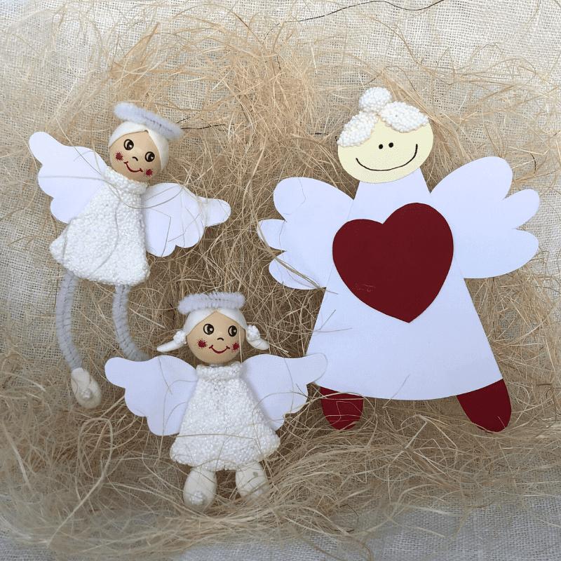 jylepynt, lag engler av papir og leire