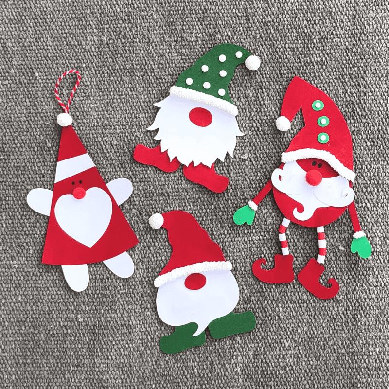 Weihnachtsbasteln für Kinder, Weihnachtsmänner aus Papier basteln