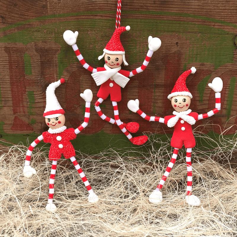 Weihnachtswichtel aus Pfeifenreinigern, Knete und Bügelperlen