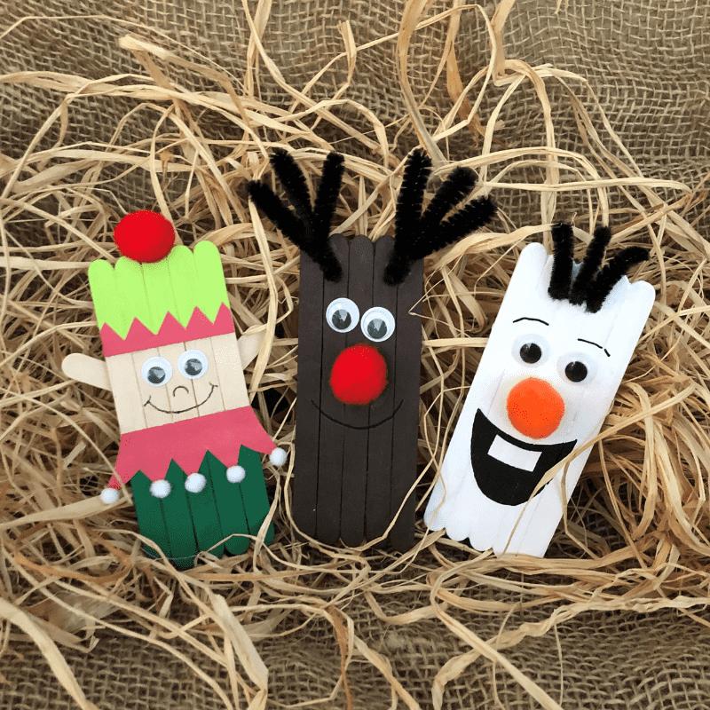 knutselen voor Kerstmis met ijsstokjes, rendier elf olaf