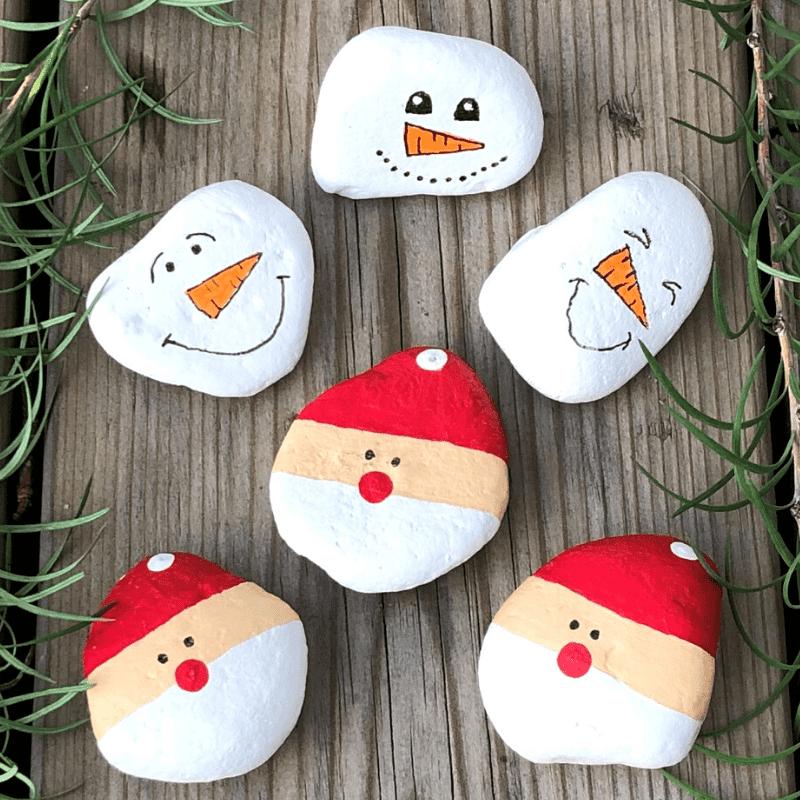 tips om te knutselen voor Kerstmis stenen als kerstman beschilderen
