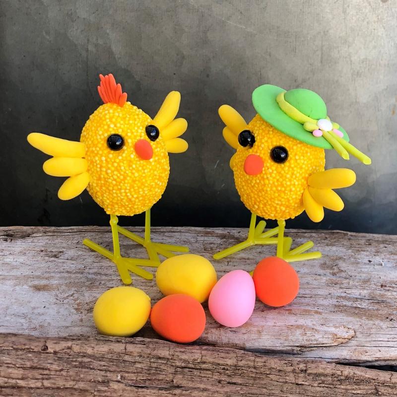 pyssla till påsk kycklingar av styrolit och Foam Clay