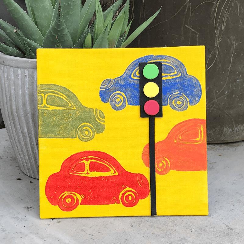 Gestalte Bilder mit eigenen Stempeln Autos
