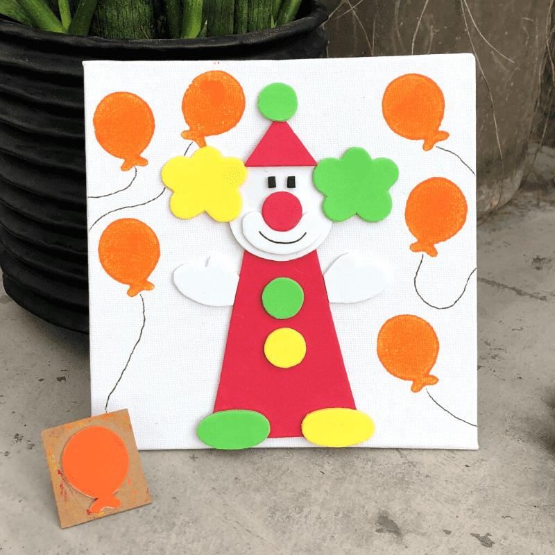Gestalte Bilder mit eigenen Stempeln Clown mit Luftballons