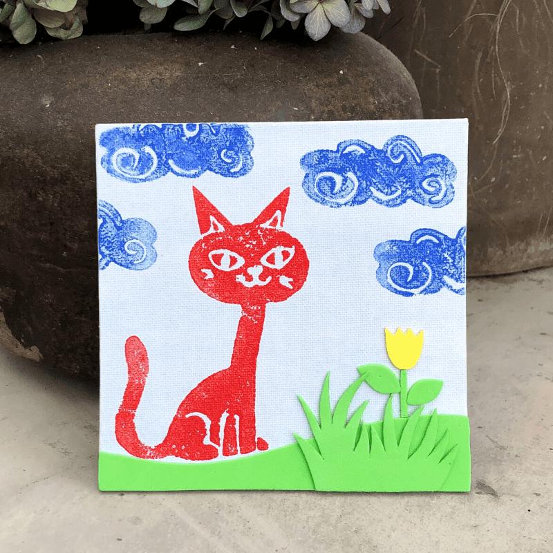 Tavlor med egna stämplar katt och moln