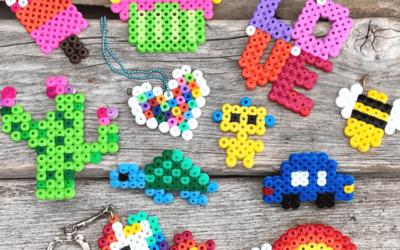 10 tips på hobby med perleplate og rørperler. Hobby for barn.