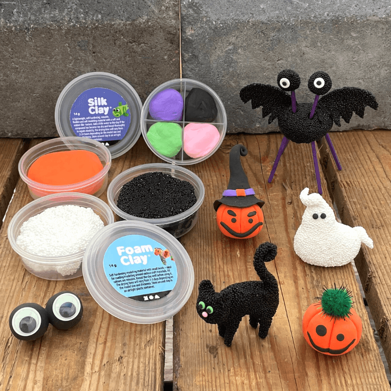 Pyssel med Silk Clay halloweenpyssel för barn